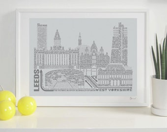 Leeds Skyline Typography Print