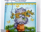 Handmade Greeting Card - Happy Birthday - cute Cat with Daffodils by PennyBlack, Kitten with Flowers - HoneyblossomDesigns
