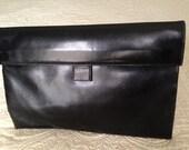 Classic Black Leather Koret Clutch Purse