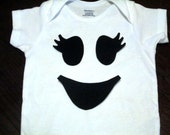 Girl Ghost Face Iron On Applique, Girl Spooky Friendly Ghost Face Iron On Applique