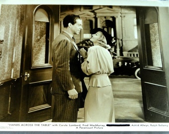 """Carole Lombard, Fred MacMurray, 1935, 2 Original Photographs, Movie Stills, """"Hands Across The Table,"""" Sepia Hollywood"""