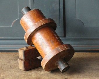 Vintage Industrial Wood Mold, Foundry, Natural Wood, Cylindrical, Urban Rustic, Home, 37-4