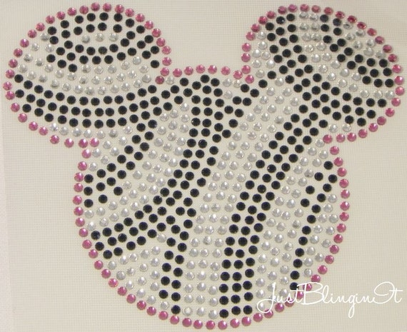 Zebra Mickey Mouse Pink Hot Fix Iron On Rhinestone Transfer Bling