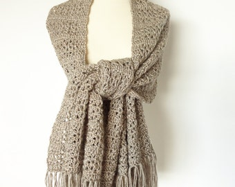 Crochet Shawl Scarf Wrap Tan Gray Stone Color - Prayer Shawl, Wedding Shawl, Bridal Shawl, Accessories, Womens Gift, Womens Holiday Gift