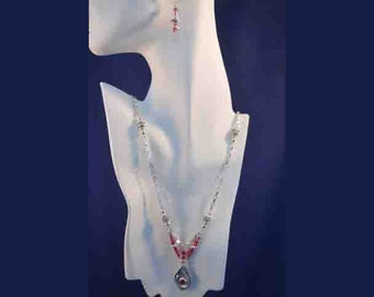 Fine Silver Necklace with Lab Ruby stone plus Earrings Set
