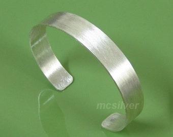 10mm 925 Sterling Silver Matt Brushed Cuff Bracelet Wide Matte Band Bangle Handcraft Modern Silver Jewelry 6 6.5 7 7.5 8 8.5 9 Modern