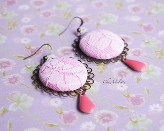 Pink Lace earrings wedding earrings dangle romantic jewelry fabric earrings bride bridal bridesmaids special occasion