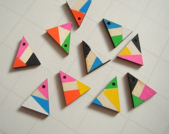 Laser cut  Wood Triangles 20mm, Neon Wood Triangles,Do it Yourself  necklace