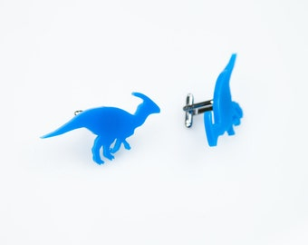 Parasaurolophus Cuff Links. Dinosaur Cufflinks. Wedding Gift. For Him. Formal Wear. Black Tie. Groom. Groomsmen Gift. Father of the Bride.