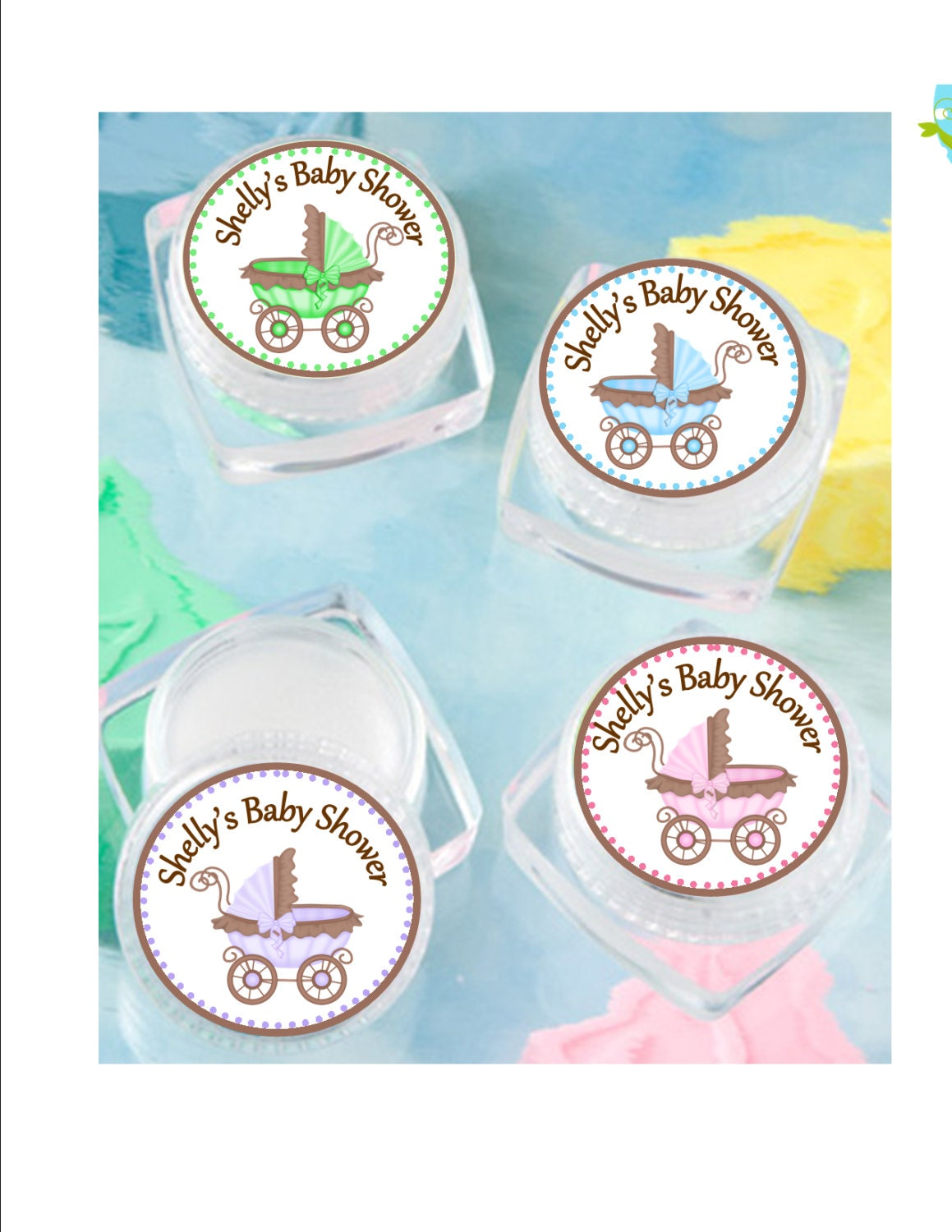 lip balm baby shower favor personalized stroller baby
