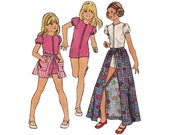 "1970s Butterick 6712 Girls' Jumpsuit and Skirt Size 14 || Chest 30""/ 76cm 