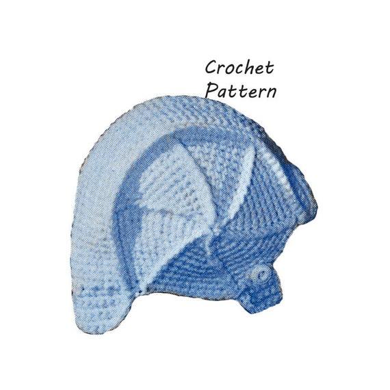 Crochet Pattern For Baby Pilot Hat : Baby Aviator Hat or Cap Crochet Pattern Vintage 1960s