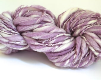 Thick and Thin Melange  Hand Spun  Super Chunky Wool Yarn  Sweet Pea / White  Color