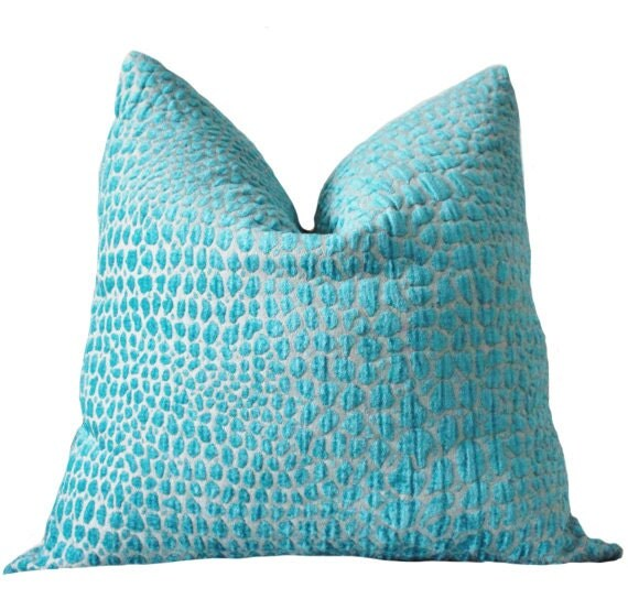 Animal Print Pillow Covers : Turquoise Pillow Animal Print Designer Pillow Cover Teal