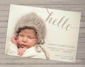 Photo Birth Announcement, Print-yourself - For Baby Boy or Girl
