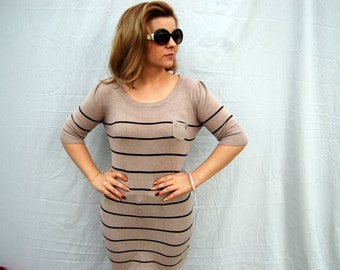 BROWNS Striped Half Sleeve Pocket Knit Sweater Dress