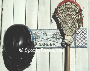 Lacrosse Helmet and Stick Holder Sports Rack Custom Team Colors Personalized Sports Room Decor Lax Player Gift Athletic Functional Art