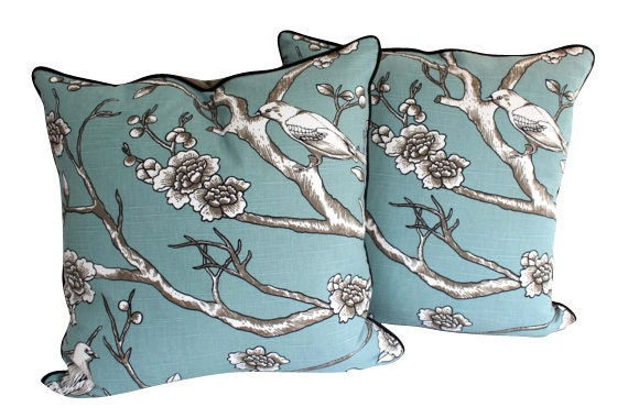 Teal Antique Blossim Pillow Covers with Piping, Two Pillow Covers