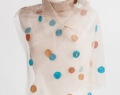 Elibelindeart/dotted colorful tulle shawl.for bridal,for red carpet,for special days...