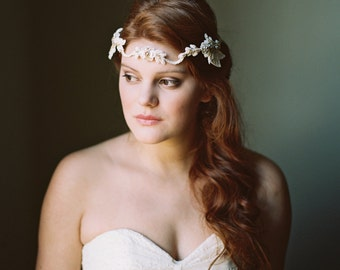 Bridal Crown. Bridal Beaded Headband. Gold & Ivory Beaded Wedding Headpiece {Victoria}