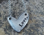 Hand Stamped LOVE Pewter heart