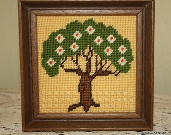 Vintage Framed Needlepoint Tree Wall Hanging Sunset Designs Home Decor Spring flowering tree