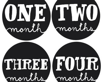 Baby Monthly Stickers - Gender Neutral Monthly Stickers - Sophisticate Monthly Stickers - Milestone Stickers - Bodysuit Stickers - Set of 12