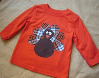 Ready to Ship - One of a Kind - 12M Orange Long-Sleeved Turkey Shirt - Plaid - Boy - Thanksgiving