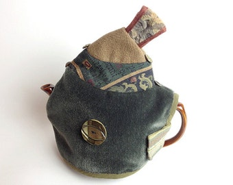 Grey Mohair Teapot Cozy Antique metal button Tapestry Magnetic Closure Medium size