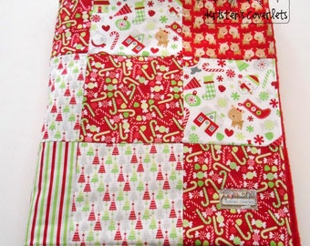 Christmas Minky Baby Blanket Patchwork Riley Blake Home for the Holidays Choice of 2 Sizes--Made to Order