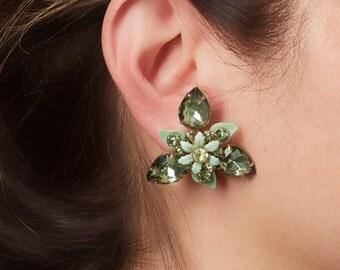 Vintage Green Rhinestone Floral Design Clip Earrings