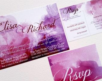 Purple Watercolor Wedding Invitation suite Modern Watercolor wedding cards Invitation cards sample {Wickita design}