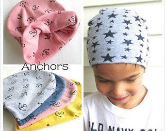 Anchor Kids Beanie, Baby Hat, Organic Slouch Hat, Anchor Toddler Hat, Baby Hat, Nautical Beanie.