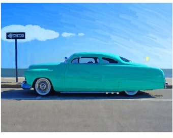 Classic 1949 Mercury Lead Sled Turquoise Car Beach Cruising Coast 9x12, 12x16 and 18x24 Glicee Print Korpita ebsq