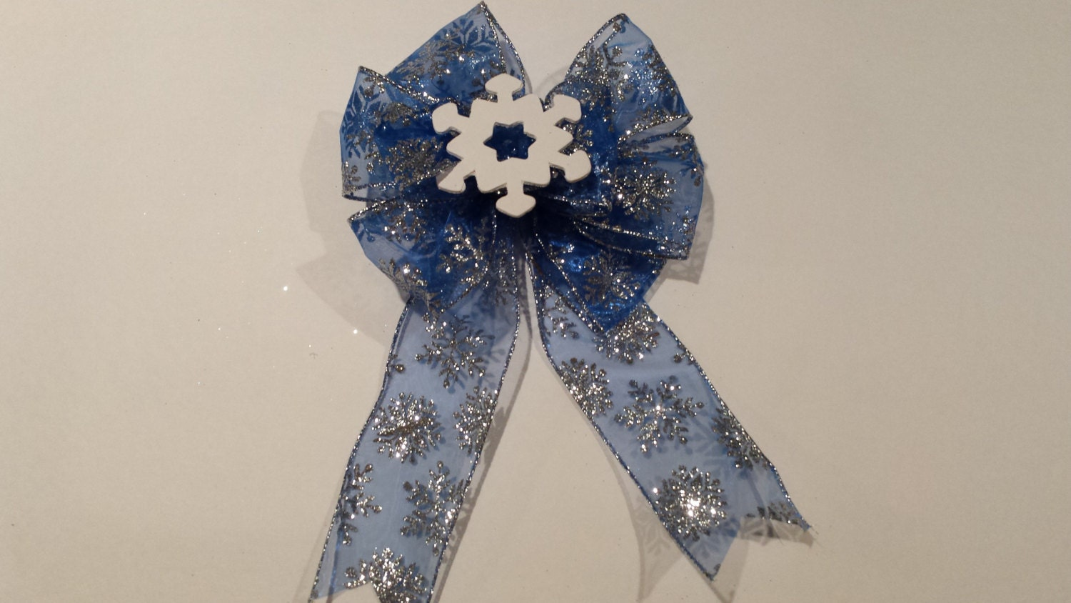 Blue Snowflake Ribbion with wooden White Sowflake custom Christmas tree or wreath wired ribbon bow