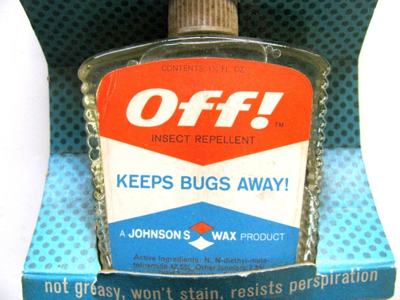 Off Insect Repellent Glass Bottle Johnson's Wax Original Box Vintage Prop 1960s Memorabilia