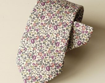 Tie Handmade from Liberty Tana Lawn - Eloise, floral tie, Liberty print tie