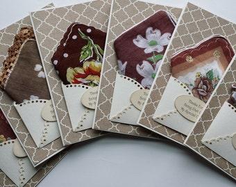 Bridesmaid Wedding Handkerchief Lot Fall Autumn Cocoa Brown Floral Keepsake Tea Gift Appreciation Thank You Bridal Accessory Hankie Cards