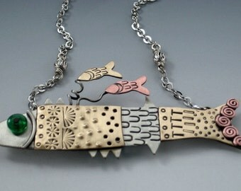Fish Necklace, Fish Jewelry, Whimsical Fish Jewelry, Silver Fish, Mixed Metal Fish, Fish Pin RP0070