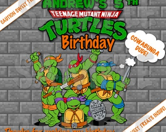 Personalized TMNT Ninja Turtles Boys Birthday Party Printable Pizza Box Cover Label