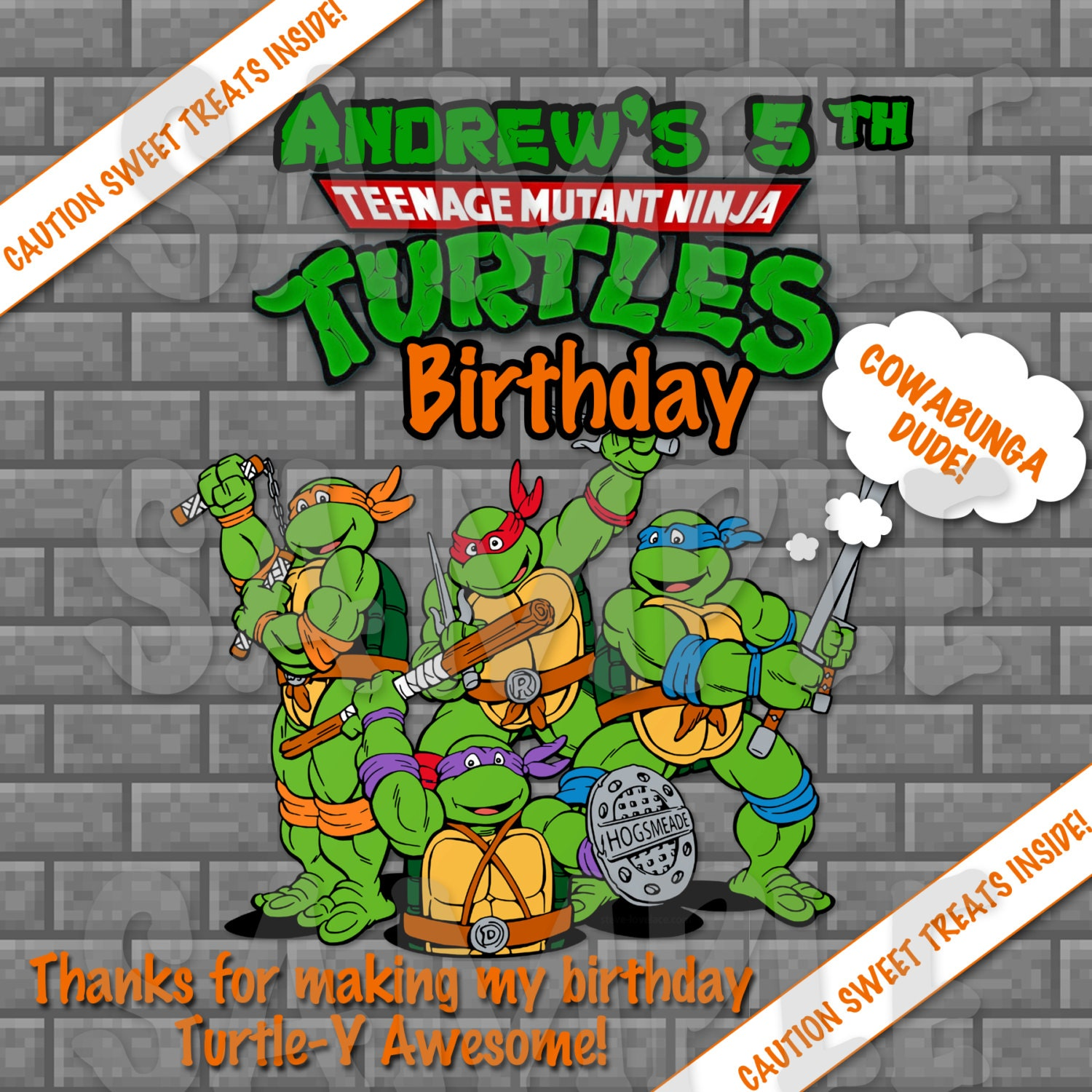 It is a photo of Delicate Ninja Turtle Party Printables