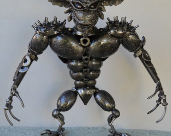 "Hand Made GREMLIN 17"" Recycled Scrap Metal"