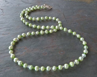 Pale Green Pearl Strand Necklace w 925 Sterling Silver, Handmade, Real Pearls in Spring Colors, June Birthstone, Contemporary Pearls