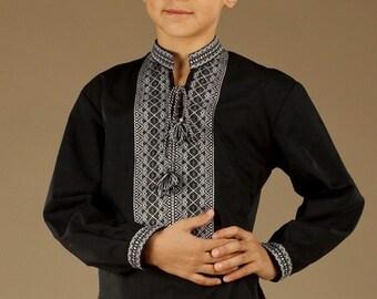 Ukrainian embroidered shirt for boys. Children vyshyvanka Black. Ethnic sorochka Cotton. Vyshyvanka shirts. Ukrainian traditional clothing