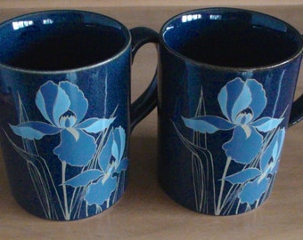 Vintage Otagiri Mugs -- Blue Iris -- Pair