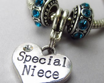 Special Niece European Charm Pendant And Rhinestone Birthstone Beads For Large Hole Charm Bracelets - Gift Idea For Nieces