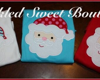 Christmas Santa Custom Applique Boys Girls Shirt Add Name or Monogram Red Turquoise White Shirt First Christmas Party