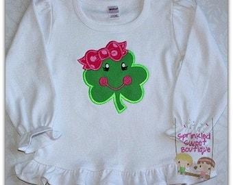 Cute Four Leaf Clover with Bow St. Patty's Day Applique Shirt