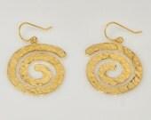 Spirals earrings, gold Earrings,  Spiral  Hammered,  Spirals Earring, dangle earrings, Inspection earrings