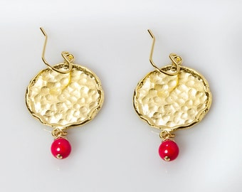 Coins-Hammered Gold  earring Hammered Coins Earring with coral dangle earring coral earring red earring